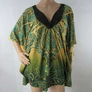 One World Live And Let Live Top Kaftan Blouse